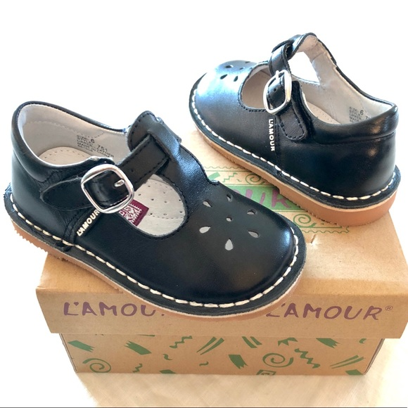 585d0c4541ce5 L'AMOUR BLACK LEATHER MARYJANE TODDLER GIRL SHOES